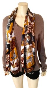 Silk Safari Animal Print Scarf Long Yellow Black P2290