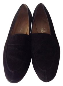 Salvatore Ferragamo Made In Italy Leather Sole Black Suede Classic Flats