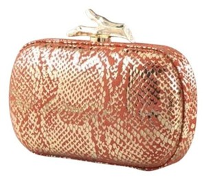 Diane von Furstenberg Dvf Kate Middleton Princess Kate Lytton Coral Orange and Gold Snakeskin Clutch
