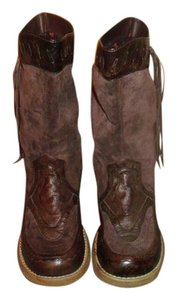 BC Footwear Brown Leather and Suede Boots