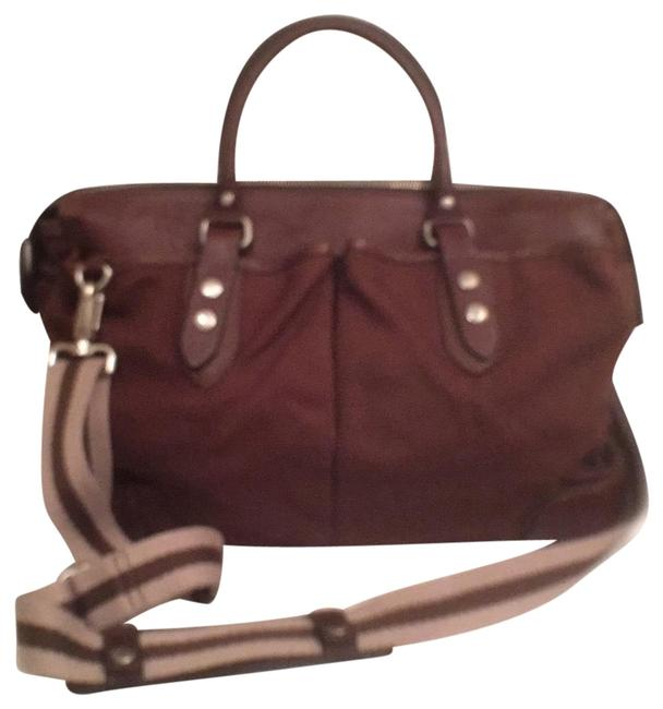 Item - Leather Trim Brown Silver Canvas Laptop Bag
