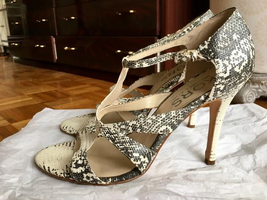 Michael Kors Python Strappy Heel Black and White Sandals Image 1