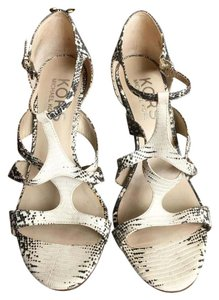 Michael Kors Python Strappy Heel Black and White Sandals
