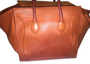 Céline Leather Phantom Tote in Cognac