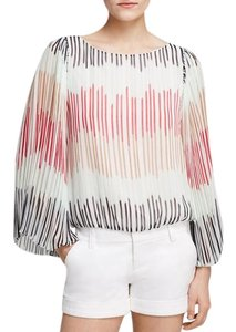 Alice + Olivia Stripe Chiffon Bell Sleeve Top