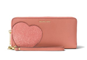 Michael Kors Heart Applique Zip Around Wallet