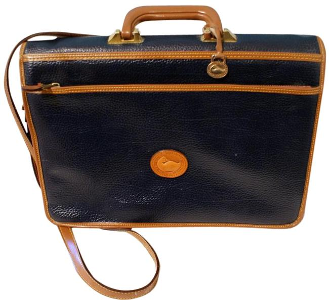 Item - Classic Briefcase Navy Tan Brown Leather Laptop Bag