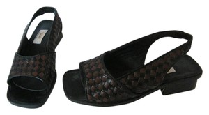 Talbots Leather Basket Weave Brown and Black Sandals