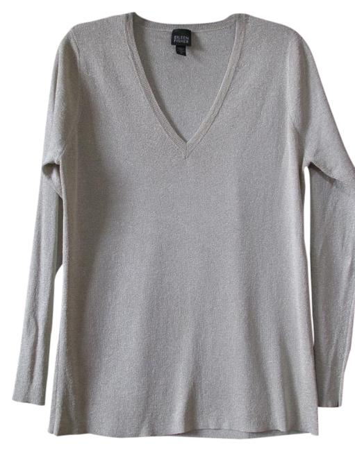 Item - Metallic Long Sleeve V Neck Evening Sweater Thin Knit Gold Champagne Top