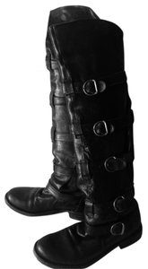 Fiorentini + Baker 5 Strap Over The Knee Leather Soles Handmade Brass Hardware Black Boots