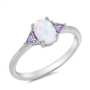 9.2.5 Cute opal and amethyst cocktail ring size 6