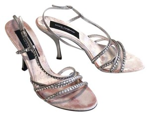 Dolce&Gabbana Dolce & Gabanna Crystal Heels Strappy Pink Silver Formal