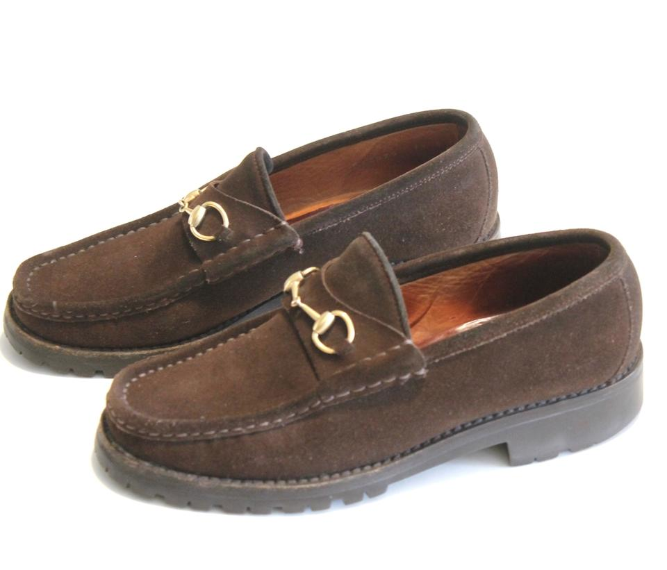 2215203c704 Gucci Brown Horsebit Suede Loafers Gold Rubber Lug Sole 7.5 Flats. Size  US  7 Regular ...