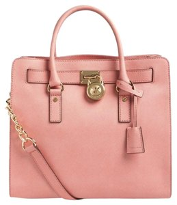 Michael Kors Hamilton Leather Tote in Pale Pink