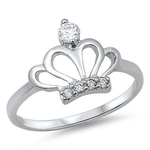 9.2.5 Adorable princess silver crown ring size 6