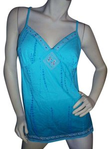 Gloria Vanderbilt Self Bra Bling Chic Stretch Rhinestones Top Teal