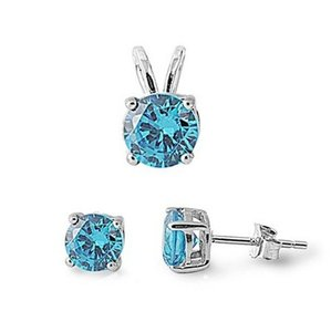 9.2.5 Beautiful blue topaz earrings and pendant set with free chain