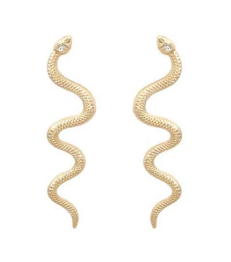 Other Rhinestone Crystal Accent Gold Tone Snake Earrings Image 1