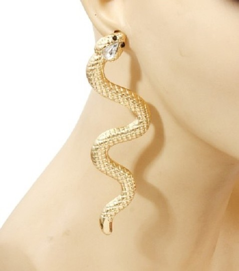 Other Rhinestone Crystal Accent Gold Tone Snake Earrings Image 2