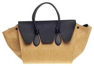 Céline Celine Raffia Leather Tote