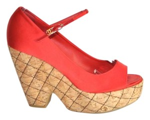 Chanel Satin Peep Toe Quilted Wedges Size 39 Red Pumps