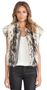 Twelfth St. by Cynthia Vincent Faux Fur Chainmail Chain Vest Two-tone Jacket
