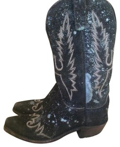 Lucchese Black with silver-blue design Boots