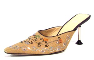 Fendi Floral Beaded Brown Mules
