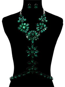 Other Green Emerald Rhinestone Bodychain Necklace And Earrings