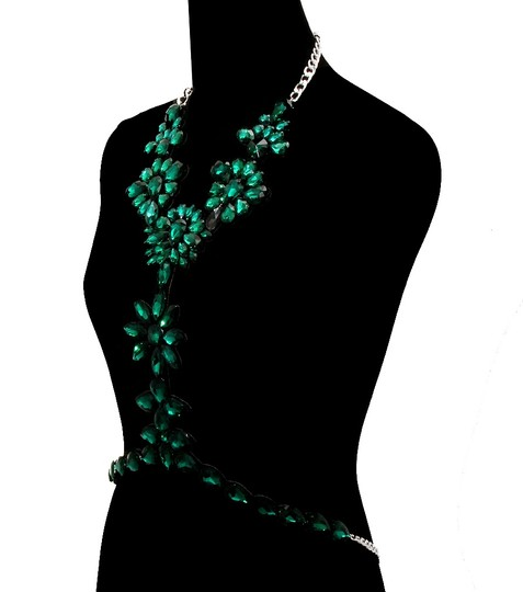 Other Green Emerald Rhinestone Bodychain Necklace And Earrings Image 1