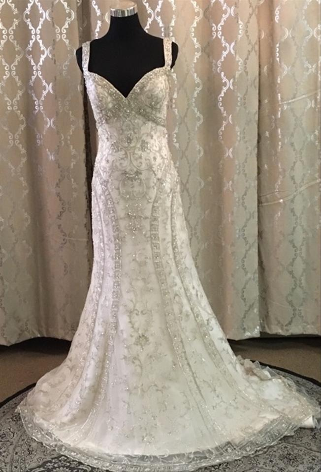 Maggie Sottero Ivory Pewter Irena Wedding Dress Size 6 S