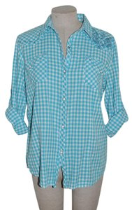 Cowgirl Up Western Cowboy Embellished Gingham Plaid Top Turquoise