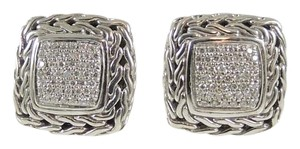 John Hardy John Hardy Sterling Silver 18K .53tcw Chain Medium Diamond Earrings