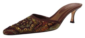 Isabella Fiore Floral Beaded Brown Mules