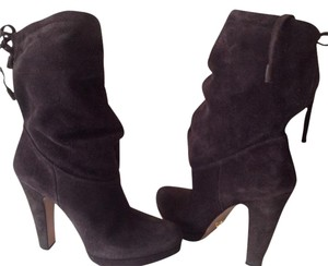Prada New Suede Leather Sole Made In Italy Hidden Platform Anthracite Boots