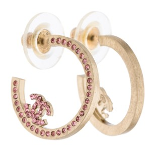 Chanel Gold-tone Chanel pink crystal CC hoop earrings
