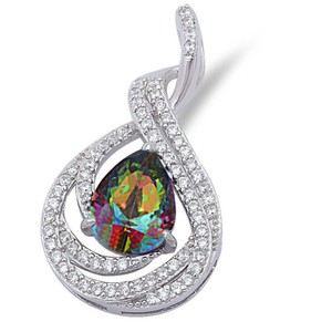 9.2.5 Gorgeous rainbow and white topaz pendant with free chain
