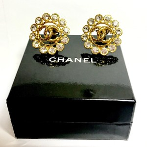 Chanel Authentic Chanel Gold Tone Clip-on Earrings Large Crystals with BOX