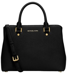 Michael Kors 30s6gs7s2l Black Savannah Mk Satchel