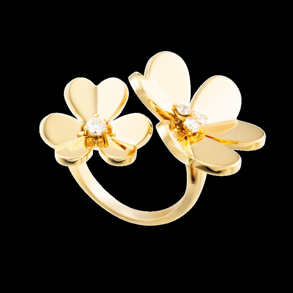 Van cleef arpels yellow gold flowers between the finger ring yg 12345678 mightylinksfo