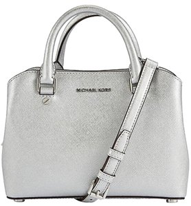 MICHAEL Michael Kors Savannah Saffiano Leather Satchel in Silver