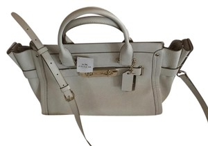 Coach Satchel in chalk with light gold