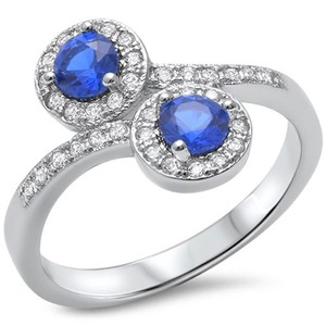 9.2.5 Gorgeous double blue and white sapphire cocktail ring size 7