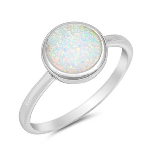 9.2.5 Cute round opal silver ring size 6