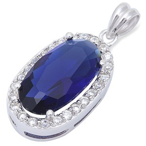9.2.5 Stunning oval blue and white sapphire pendant