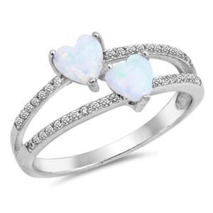 9.2.5 Stunning double heart opal ring size 6