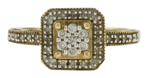 Other Square Halo Stacked Round Cut Diamond- 10k Yellow Jewelry