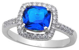 9.2.5 Gorgeous cushion cut blue and white sapphire cocktail ring size 6