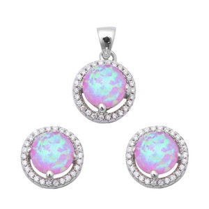 9.2.5 Rare pink opal earrings and pendant set