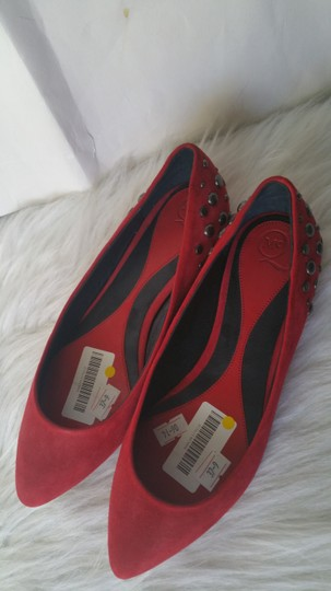 Alexander McQueen Suade Leather Red Flats Image 1